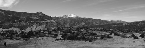Tava, or Pikes Peak, a snow-capped mountain, viewed from Garden of the Gods.